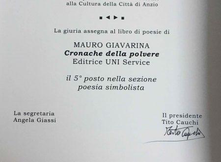 """Premio Polverini 2016. """"Cronache della polvere"""", 5° posto, poesia simbolista"""